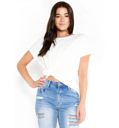 ROUND WE GO KNIT TOP - IVORY