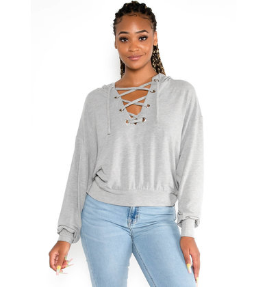 ON THE EDGE LACE UP SWEATSHIRT