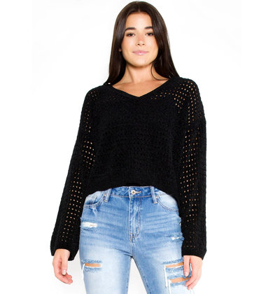 ISRA CHENILLE SWEATER - BLACK