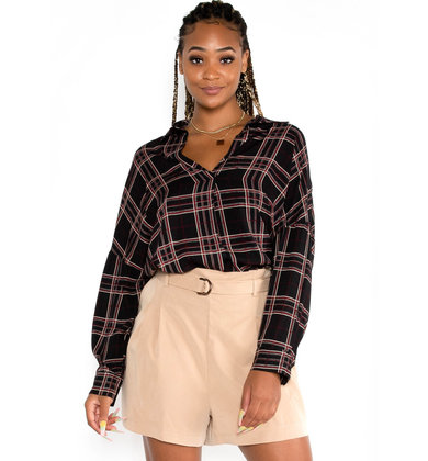 BAG OF TRICKS PLAID BLOUSE
