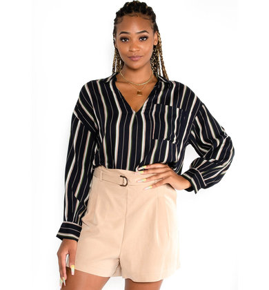 FALL STRIPES NAVY BLOUSE