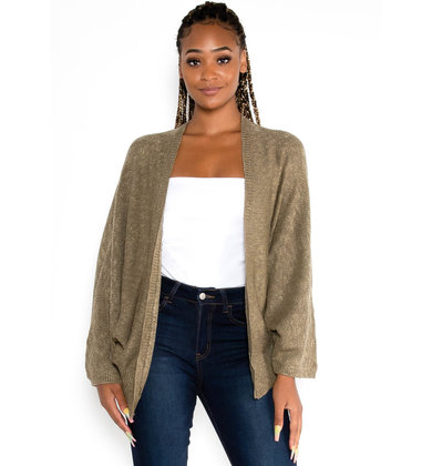 FALLING LEAVES CARDIGAN - OLIVE