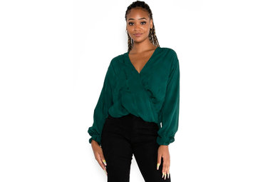 SQUARE DEAL BLOUSE - DARK TEAL
