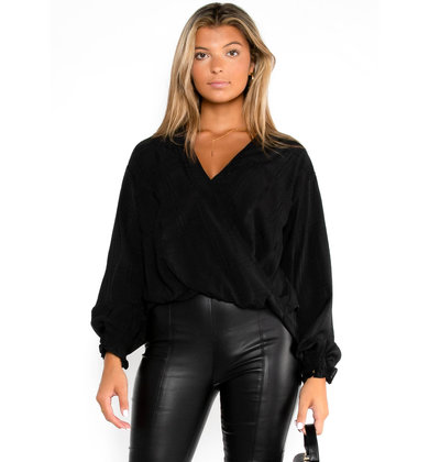 SQUARE DEAL BLOUSE - BLACK