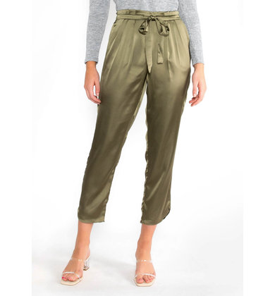 OLIVER SILK JOGGERS - OLIVE