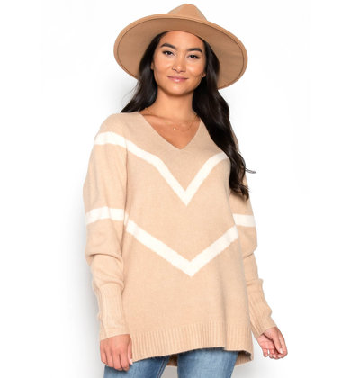 SANDERSON CHEVRON SWEATER - TAUPE