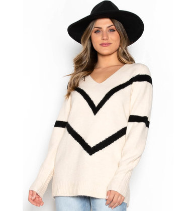 SANDERSON CHEVRON SWEATER - CREAM