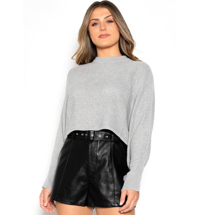 MOORE CROPPED SWEATER - GREY