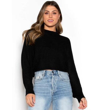 MOORE CROPPED SWEATER - BLACK