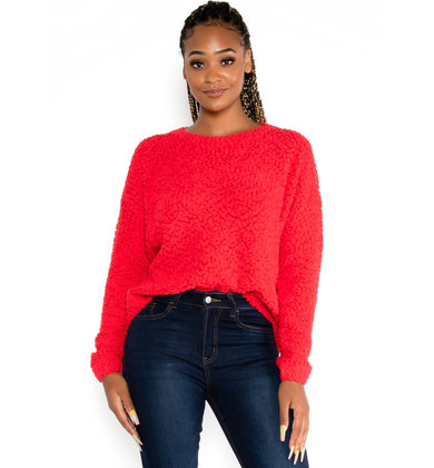 CHASING LOVE RED SWEATER