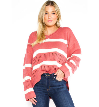 WINDY CITY SWEATER - ROSE