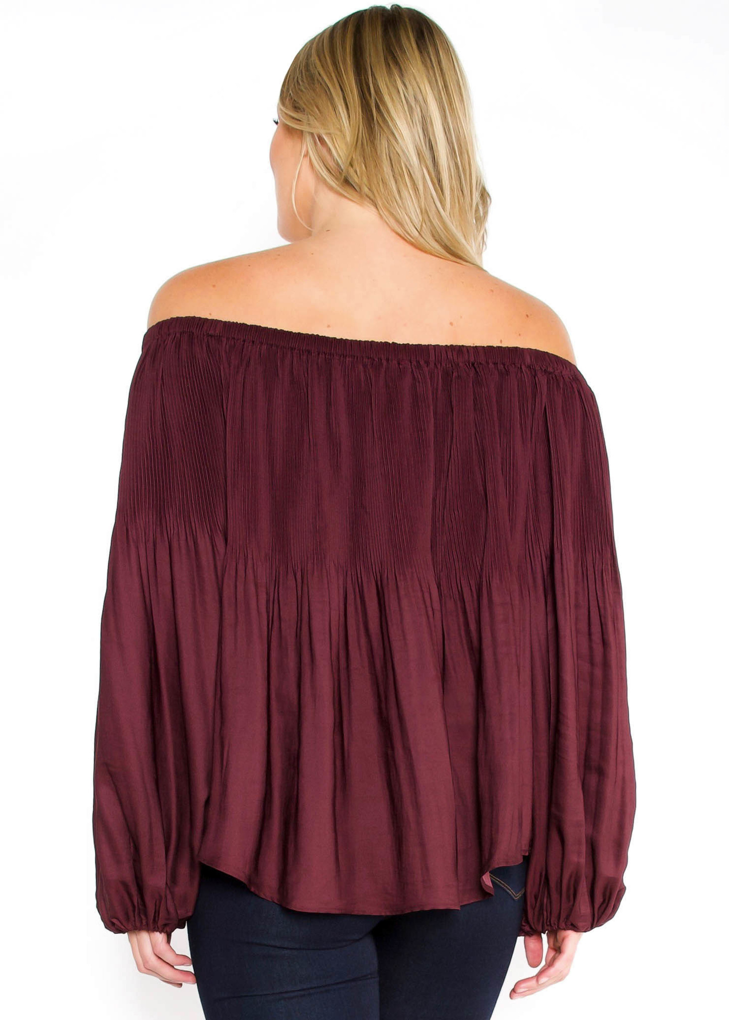 CROSSING PATHS PLEATED BLOUSE