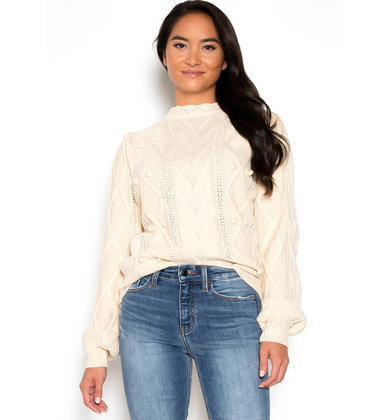 ALL THE DETAILS CABLE KNIT SWEATER
