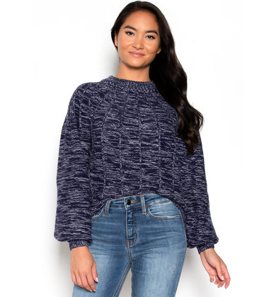 SUNDAY BLUES MOCK NECK SWEATER
