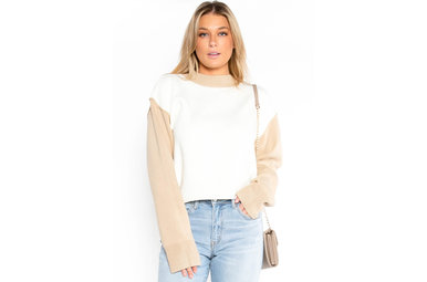 VENTI COLOR BLOCK SWEATER - CREAM