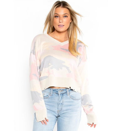LAST TO LOVE DISTRESSED SWEATER