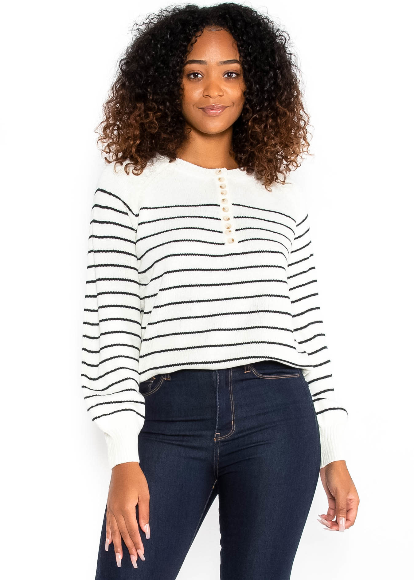 AT EASE STRIPED SWEATER