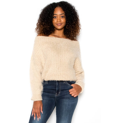 TAYSHIA EYELASH KNIT SWEATER