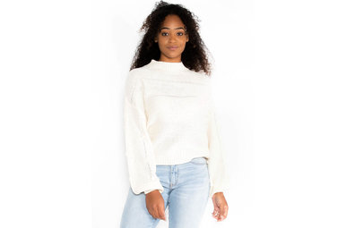 COMING ON UP POM SWEATER