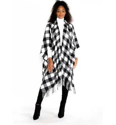 OVERNIGHT DELIGHT PLAID PONCHO