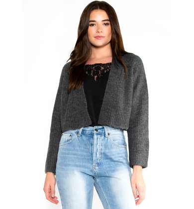 NOEL CROPPED CARDIGAN - GREY