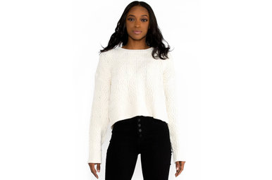 CRYSTAL IVORY CROPPED SWEATER