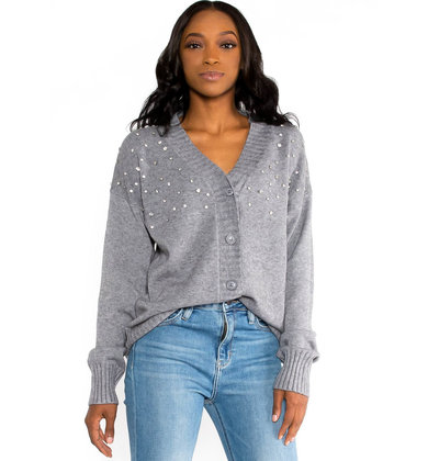 GLITTER GANG GREY CARDIGAN