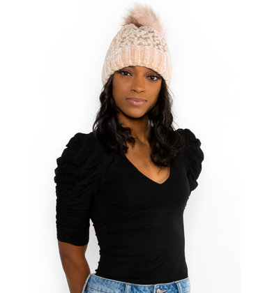 SHADES OF WINTER POM HAT - BLUSH