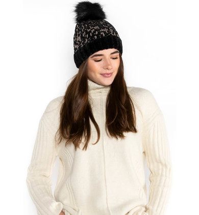 SHADES OF WINTER POM HAT - BLACK