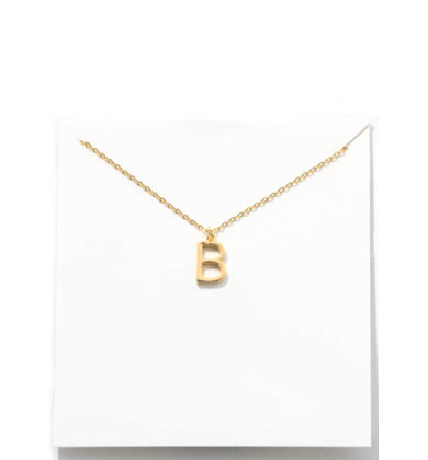 GOLD INITIAL NECKLACE - B