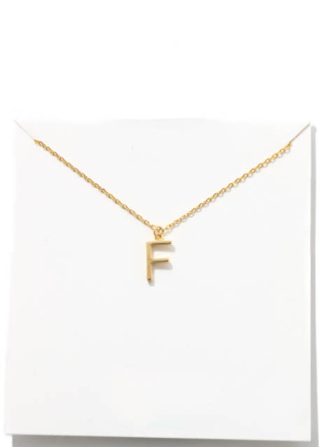 GOLD INITIAL NECKLACE - F