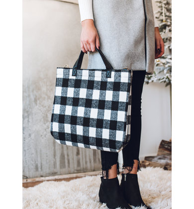 FINE LINE PLAID TOTE BAG