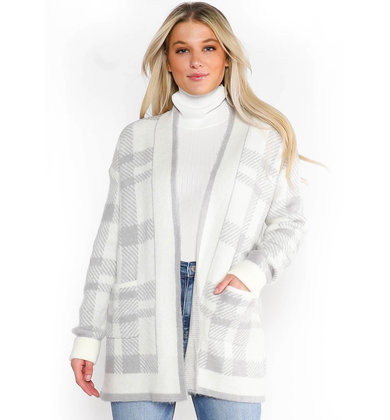 FROSTED MORNINGS PLAID CARDIGAN