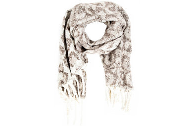 MILO LEOPARD SCARF - BROWN