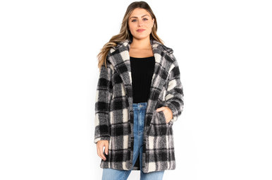 LAYER OF FROST PLAID COAT