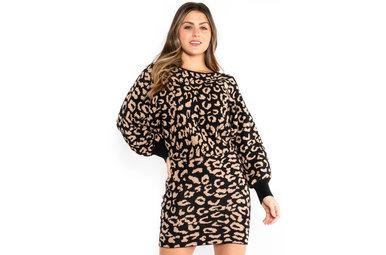 HAZELTON LEOPARD SWEATER DRESS