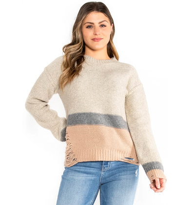 ICE RINK DISTRESSED SWEATER