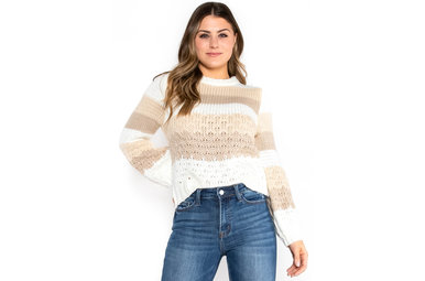 WINTER WHITE COLOR BLOCK SWEATER