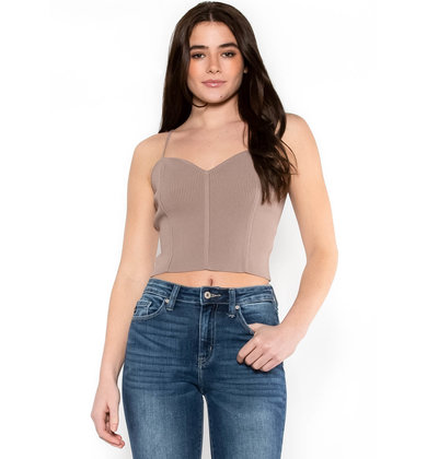 LESSONS OF LOVE CROP TOP - MOCHA