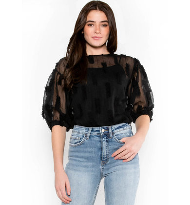 MIDNIGHT MEETINGS BLACK BLOUSE