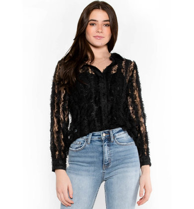 VIVID DREAMS LACE BLOUSE - BLACK
