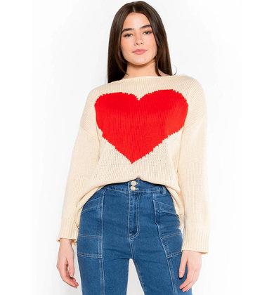 WHOLE HEART CREAM SWEATER