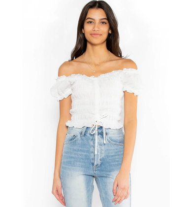 ONE I WANT SMOCKED CROP TOP