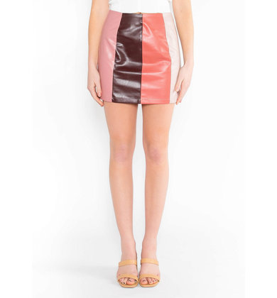 ESMAE COLOR BLOCK MINI SKIRT