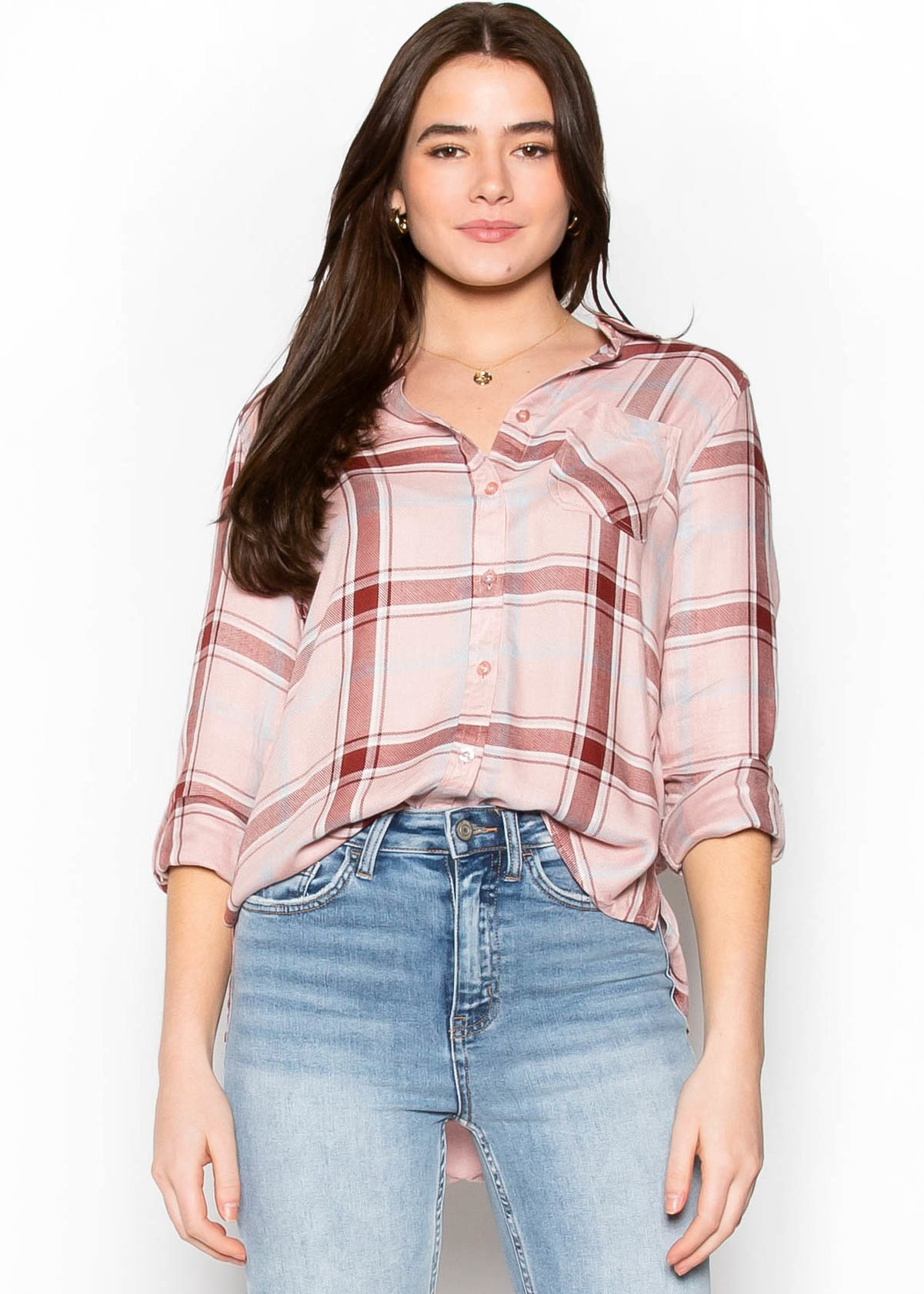 GUESSING GAMES PLAID BUTTON UP