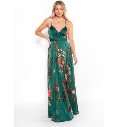 PAINTED PETALS FLORAL MAXI DRESS