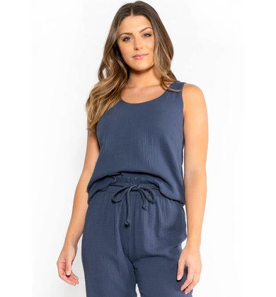 TORN IN TWO NAVY TANK TOP