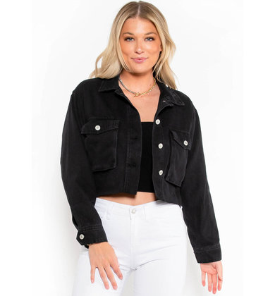 NEW GIRL DENIM JACKET - BLACK