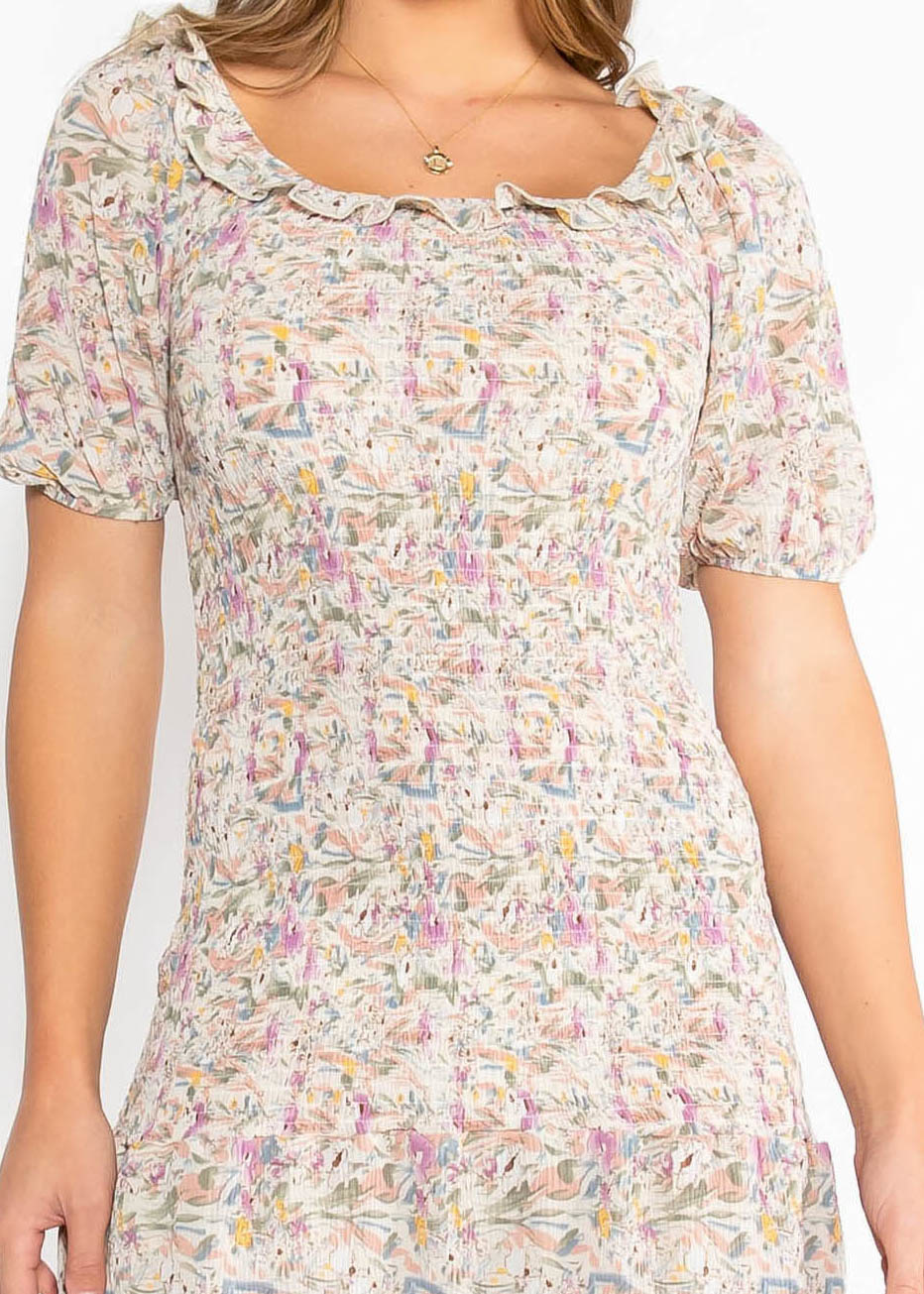 ADLEY PRINTED DRESS - TAUPE