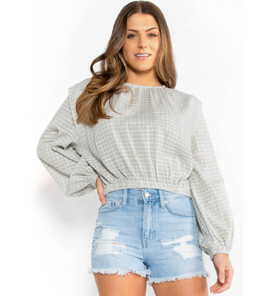 PERFECT RECORD PLAID BLOUSE